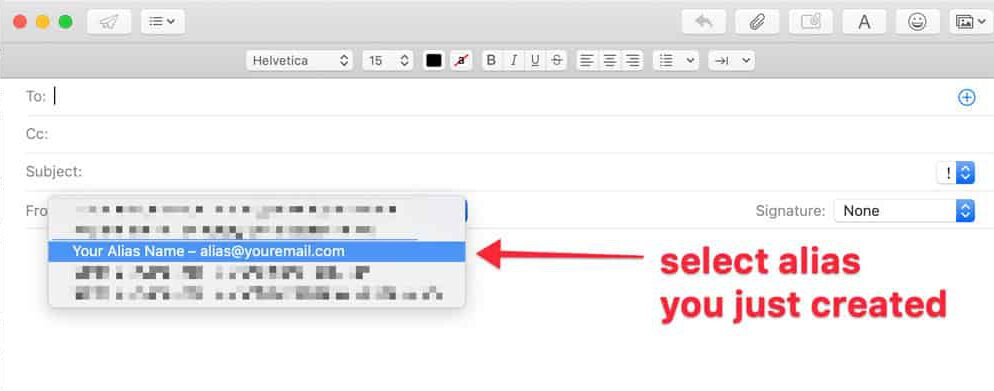 how to set up an email alias in apple mail screenshot 5